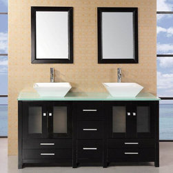 "Design Elements - Arlington 61"" Double Sink Bathroom Vanity Set with Glass Top - The Arlington 61 double vanity is elegantly constructed of solid oak wood. The designer square vessel sinks and tempered glass countertop bring a crisp and contemporary look to any bathroom. The sinks and countertop beautifully contrast with the rich features of the espresso cabinetry. This stylish design includes two soft-closing double cabinet doors, and twin drawers under each set of doors. A matching detached espresso cabinet with three drawers is provided for additional storage. Also included with this set are two espresso-framed mirrors.; Solid Oak Wood construction; Aqua green Tempered Glass Counter Top; Rectangular White Porcelain Vessel Sinks; Faucet not included.; Polished chrome pop up drain; Seven Drawers and Two Double Door Cabinets; Soft closing cabinet door ensuresyou never hear door slam again.; Matching framed mirror; Dimensions: 61""W x 22""D x 34""H"