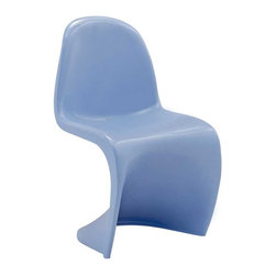 Modway - Slither Kids Chair in Blue - Einstein may have shown that space was curved, but this chair gave tangible expression to the idea. Now over forty years since the Slither chair was first molded, budding scientists can rediscover the cosmos with this clean and durable playroom chair!