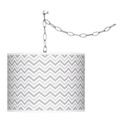 "Giclee Glow - Contemporary Swanky Gray Narrow Zig Zag Plug-In Swag Pendant - Add instant style and glamour to your home with this swag chandelier featuring a custom made-to-order translucent drum shade with a specially designed custom-printed giclee pattern. Comes with a brushed silver finish spider fitting chain and silver cord. Includes swag hooks and mounting hardware. Installation is easy simply hang on the included hooks drape the cord as desired and plug in to any standard wall outlet. U.S. Patent # 7347593.Translucent drum shade. Custom-printed Swanky Gray Narrow Zig Zag pattern. Brushed silver finish. Maximum 100 watt or equivalent bulb (not included). In-line on/off switch. Shade is 13 1/2"" wide 10"" high. Includes 15 feet lead wire 10 feet chain.  Translucent drum shade.  Custom-printed Swanky Gray Narrow Zig Zag pattern.  Brushed silver finish.  Maximum 100 watt or equivalent bulb (not included).  In-line on/off switch.  Shade is 13 1/2"" wide 10"" high.  Includes 15 feet lead wire 10 feet chain."