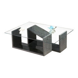 FURNITECH - FTNO - Model FTNO coffee table is a study in modern chic. The inventive use of Graphite Italian Engineered Veneer complemented by a contrasting High Gloss Black Lacquer surface with a Clear Tempered 10mm Glass Top is sure to become a conversation piece in any setting.