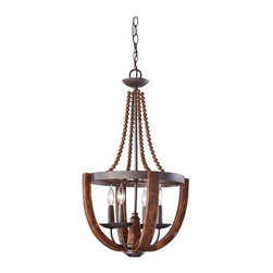 Murray Feiss - 4 Bulb Rustic Iron / Burnished Wood Chandelier - - cUL Dry Approved.