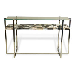 Kathy Kuo Home - Bellaver Hollywood Regency Wood Mosaic Glass Console Table - Sleek, modern simplicity finishes angular design in this industrial, two shelf console table. Petrified wood is inlaid to create a mosaic in gray scale. Polished steel supports the shelves and echoes the stylish silver color scheme.