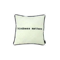 Kindness White 16X16 Pillow (Indoor/Outdoor) - 100% polyester cover and fill.  Suitable for use indoors or out.  Made in USA.  Spot Clean only