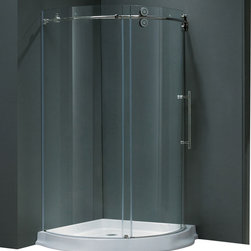 Vigo - Vigo 36 x 36 Frameless Round 5/16in.  Clear/Chrome Shower Enclosure Right-Sided - Make your bathroom an oasis with a Vigo frameless round shower enclosure.