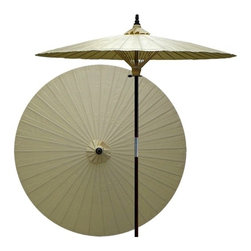 Oriental Unlimted - 7 ft. Tall Vanilla Patio Umbrella (None) - Choose Base: NoneHandcrafted and hand-painted by master artisans. 100% Waterproof and extremely durable. Umbrella shade can be set at 2 different heights, 1 for maximum shade coverage and the other for a better view of the shade. An optional base, which secures the umbrella rod and shade against strong winds and rain. Patio umbrella rod and base is constructed of stained oak hardwood for a rich look and durable design. Umbrella shade is made of oil-treated cotton. Minimal assembly required. Canopy: 76 in. D x 84 in. HChildren, helpful people and marriage are all attributed to white in the Oriental tradition. White is also an optimal color for mixing well with any outdoor color theme and in general signifies purity.