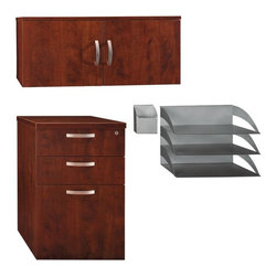 Bush Business - Office in An Hour Storage Drawer File - Organize your office in a hurry with this three-drawer file cabinet and storage hutch in Hansen cherry finish from the Office in An Hour collection.  The file and hutch come fully assembled and have durable melamine surfaces.  The full package includes a three- drawer file, hutch, and pencil storage. * Includes 3-Drawer File, Hutch, Paper/Pencil Storage. Kit can be purchased with the desk and panels, or as a separate package. File and Hutch are fully assembled and have durable melamine surfaces. Lockable file holds letter- and legal-size files. File has casters for easy mobility. 15.984 in. W x 20.079 in. D x 25.394 in. H