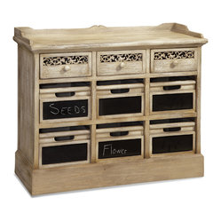 Bassett Mirror - Millinery Chest with Bins And Chalkboard - Cottage style White Antique Finish. Measures: 39 in. W x 16 in. D x 33 in. H.