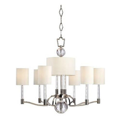 Hudson Valley Lighting - Hudson Valley Lighting 3006-PN Waterloo 9 Light Chandelier in Polished Nickel 30 - Striking geometry sets off the glittering flourishes of this avante garde collection. Waterloo's strong silhouette is enhanced with inspired embellishments. Cut-crystal prisms scatter the warm light of glass-sleeved candlesticks, refracting a playful cast of light across the mirror-finish of Polished Nickel surfaces. Vintage cues, like white cloth wiring inside the transparent glass sleeves, link this fresh style to an earlier era of design innovation. Waterloo's pieces are at once forward-looking and rooted in the timeless idea that beauty stems from fantastic features.(9) 40 Watt max 120vBulb Base: Candelabra Bulb Included: No Bulb Type: Incandescent Canopy Diameter: 6 Collection: Waterloo Diameter: 31 Energy Star Compliant: No Finish: Polished Nickel Height: 26 Light Direction: Up Down Lighting Number of Lights: 9 Number of Tiers: 1 Shade Bottom: 10 Shade Color: Off White Shade Height: 6 Shade Material: Faux Silk Shade Top: 10 Style: Bold and Glamorous Suggested Room Fit: Dining Room, Living Room Type: Crystal Chandeliers Voltage: 120 Wattage: 40 Weight: 29