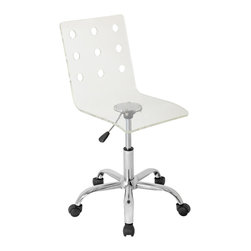 "Lumisource - Swiss Acrylic Office Chair, Clear - 22"" L x 21"" W x 30.75"" - 35.75"" H"
