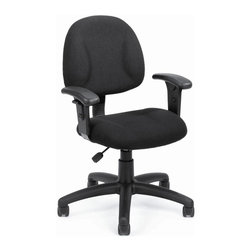 BOSS Chair - Fabric Office Chair In Black w Adjustable Arm - This office chair has it all - ergonomic design, great value and long-lasting durability. It features thick padded seat and back, durable black upholstery, contoured armrests and nylon base replete with 5 dual wheel casters. One touch control lets you configure your comfort. Thick padded seat and back with built-in lumbar support. Waterfall seat reduces stress to your legs. Back height and depth are fully adjustable. Pneumatic seat height adjustment. 5 star nylon base allows smooth movement and stability. Hooded double wheel casters. Adjustable arms. Cushion color: Black. Base/wood: Black. Seat size: 17.5 in. W x 16.5 in. D. Seat height: 18.5 in. -23.5 in. H. Arm height: 24-32 in. H. Overall dimension: 25 in. W x 25 in. D x 35-40 in. H. Weight capacity: 250 lbs