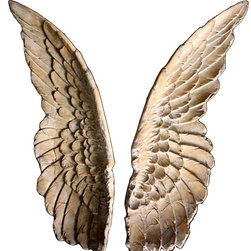 Bright Earth Collection - Angel Wings Wall Sculpture - Set of 2 - These truly mesmerizing Angel Wings Wall Art are a beautiful resin cast of an original Roman stone sculpture and are perfect decor for your room.  The Majestic wings will inspire any room with the detailed and classic sculptured design elements.   These beautifully terra-cotta white-washed colored, large wall art sculptures stretch over 40 inches tall and are made with a light-weight  material so they are easy to handle and mount.