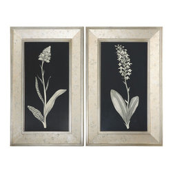 Uttermost - Antique Floral Study Framed Art, Set of 2 - Frames have a champagne silver leaf finish with the center section having an antiqued silver look with aged accents showing through. Prints are under glass.