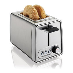 Hamilton Beach - Hamilton Beach 22791 2 Slice Modern Chrome Toaster Multicolor - 22791 - Shop for Toasters from Hayneedle.com! Make the perfect morning slice with the Hamilton Beach 22791 2 Slice Modern Chrome Toaster. This handy toaster features wide slots for slices and bagels as well as 3 toasting functions for the perfect crisp. Other features include a chrome finish toast boost crumb tray and easy grip shade selector.About Hamilton BeachOne of the country's leading distributors of small kitchen appliances Hamilton Beach Brands Inc. sells over 35 million appliances every year. The company's most famous brands -- Hamilton Beach Eclectrics Proctor Silex and TrueAir -- are found in households across America Canada and Mexico. Hamilton Beach takes immense pride in their product quality wide variety of options superior customer service and brand name strength and remains committed to serving customers through Good Thinking applied to the style and function in all of their small electric appliances.