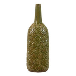 "Benzara - Long Narrow Neck Ceramic Vase with Beautiful Floral Pattern in Green (Large) - Adorn your home with this elegant ceramic vase with beautiful floral patterns and let its beauty and allure add a touch of traditional charm and elegance. The Long Narrow Neck Ceramic Vase with Beautiful Floral Pattern in Green (Large) has a long slim neck and a bottle shaped body that is engraved with beautiful floral patterns. The dimensions of the Long Narrow Neck Ceramic Vase with Beautiful Floral Pattern in Green (Large) are 6""x4""x19""H. Ceramic; Green; 6""x4""x19""H; Dimensions: 6""L x 4""W x 19""H"