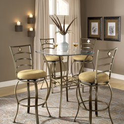 Hillsdale Furniture - Hillsdale Brookside 5 Piece Pub Table Set w/ Marin Barstool - The Hillsdale Brookside 5 Piece Pub Table Set with Marin Barstools is an elegant set that will provide style to any area that it is placed. Contemporarily designed from metal framework  the table and stools both are powder coated in a deep brown color. The table is topped with a 36 inch circular cut glass. Each of the barstools have delicately sculptured lattice backs and oversized cushions upholstered in tan microfiber that is gracefully flecked in darker brown. This set is perfectly suited to match any décor and will complement any of the other pieces in the Brookside Collection.