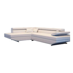Scene Furniture - Moda Leather Sofa Sectional - This small ultra modern sofa sectional creates a very sleek and contemporary feel in any space. It is hand produced with white Italian leather and includes 4 adjustable headrests for added comfort.