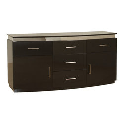 Chintaly Imports - Xenia 4 Drawer Contemporary Buffet - A beautiful full size buffet storage cabinet. There are 5 easy close drawers and 2 large doors. The finish is High Gloss Black with Brushed Stainless Steel trim.