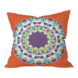 DENY Designs - Karen Harris Mod Medallion Mulberry Throw Pillow, 20x20x6 - A perfect pop of color and pattern to wake up your sofa or duvet, this plush pillow features a bold, mod-inspired center medallion of plum, citrine, aqua and white across the dark tangerine background. It's custom printed front and back on woven polyester with a zipper closure and insert.