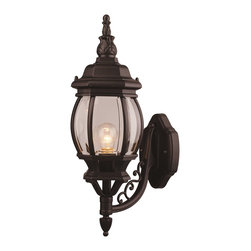 Designers Fountain - Designers Fountain Riviera Traditional Outdoor Wall Sconce X-KB-2042 - Celebrate good old fashioned quality and durability with this traditional wall sconce. The intricate styling and old world lantern appeal make this fixture suitable for your garage, porch, or main gate. The black finish provides sleek appeal and the clear beveled glass provides bright, friendly illumination.