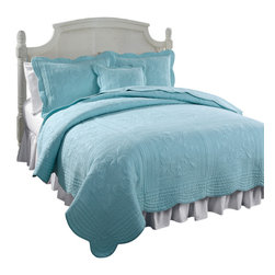 Pem America - French Tile Canal Blue Twin Quilt - French Tile is a classic solid color with detailed machine stitching and scalloped edges.  This classic coordinate can be used in any room of the house and can go with a wide range of colors and styles. 1 Twin quilt 68x86 inches. Face cloth is 100% natural cotton with a detailed stitch pattern. Machine wash cold, gentle cycle.