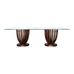GILANI - Olive Grove Dining Table Base (Rectangular) (2 Pedestals) - Olive Grove Dining Table Base (Rectangular) (2 Pedestals). Style no: DT96901 x 2. Material: Metal. Finish: As specified. Top Options: Glass, wood, or copper. Custom sizing available. Designed by Shah Gilani, ASFD.