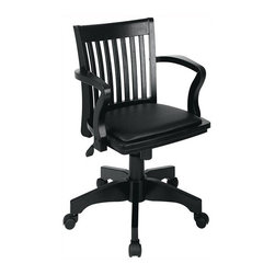 Office Star - Wood Bankers Desk Chair w Black Vinyl Seat - Accomplish any task with this comfortably appointed, classic bankers desk chair. Made with solid wood, it has stylish contoured arms and a wide, padded seat with black vinyl upholstery. Plus, a wheeled base gives you go-anywhere mobility to navigate any busy workspace. Pneumatic seat height adjustment. Locking tilt control with adjustable tilt tension. Finish: (blk-1) black/black vinyl. Wood covered steel base with dual wheel carpet casters. Seat dimensions: 20.5 in. W x 17.5 in. D x 1 in. T. Back dimensions: 18.5 in. W x 17.25 in. H x 1 in. T