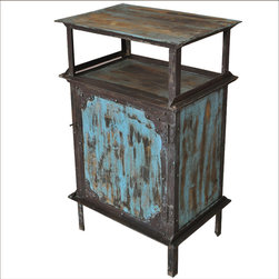 Sierra Living Concepts - Industrial Blue Wrought Iron Kitchen Cabinet w Open Shelf - Our no-nonsense line of industrial style furniture is both practical and fun.