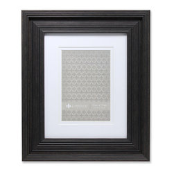 "Lawrence Frames - 8x10 Wide Grooved Black Matted to 5x7 - Fabulous wide black fluted compostie picture frame.  This is a gorgeous and elegant matted picture frame that will be a great decorative addition to any room.  This frame can be used for an 5"" x 7"" photo with included mat, or 8"" x 10"" photo or document without the mat.  Comes with a two way easel for vertical or horizontal table top display, and hangers for vertical or horizontal wall mounting.  High quality black masonite backing.  Picture frame comes with glass to protect your photo, and is individually boxed."