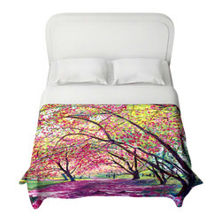 DiaNoche Designs - Duvet Cover - Lazy Afternoon Central Park - Lightweight and super soft brushed twill Duvet Cover sizes Twin, Queen, King.  Cotton Poly blend.  Ties in each corner to secure insert. Blanket insert or comforter slides comfortably into Duvet cover with zipper closure to hold blanket inside.  Blanket not Included. Dye Sublimation printing adheres the ink to the material for long life and durability. Printed top, khaki colored bottom, Machine Washable, Product may vary slightly from image.
