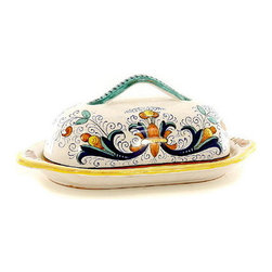Artistica - Hand Made in Italy - RICCO DERUTA: Butter Dish w/cover - RICCO DERUTA: This product is part of the renown Ricco Deruta Collection.