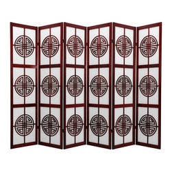 Oriental Furniture - 6 ft. Tall Long Life Shoji Screen - 6 Panel - Rosewood - Beautiful Shou (longevity) symbol lattice, this room divider attracts good health to the household. Display as an art screen, or for privacy and to define space.