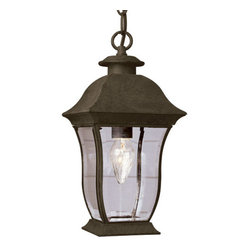 Trans Globe Lighting - Classic 18-Inch Hanging Lantern in Black with Curved Beveled Clear Rectangular G - - Curvy sleek and always in style. This new American contemporary outdoor landscape lighting d�cor creates a silhouette for your yard or patio. Weather resistant brass.  - 2 Light Hanging Lantern  - UL Listed for Wet locations  - Contemporary Outdoor hourglass landscape fixture with curved roof top and ring-hook  - Comes with 3' chain and wire  - Made with brass frame and steel for other parts  - Contemporary outdoor collection  - Clear beveled edge glass, S curved rectangle  - Material; Brass, Steel, Glass  - Bulbs not included Trans Globe Lighting - 4975 BK
