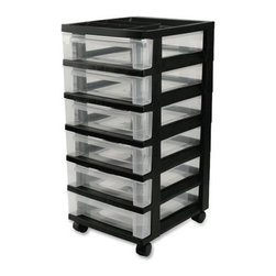 IRIS USA, Inc. - 6-Drawer Cart with Organizer Top and Casters, Black - Organize with the updated, sleek design 6-drawer rolling cart makes great for use in the home, office, or hobby room. Drawers are clear to easily identify contents and deep for added storage capacity. Includes casters and built-in drawer stops.