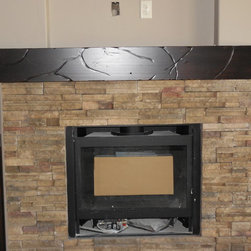 Rustic fireplace mantel -