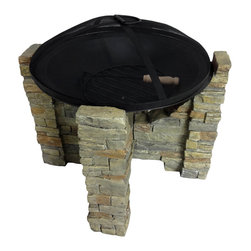 None - Laguna Stone Outdoor Fire Pit - Enjoy the warmth of a fire in the comfort of your own backyard with this convenient Laguna portable fire pit. Designed with the appearance of real stone,this lightweight fire pit includes a grate and poker for safety.