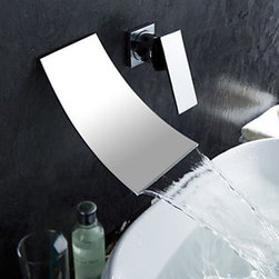 Bathroom Sink Faucets - Waterfall Widespread Contemporary Bathroom Faucet - Chrome Finish--faucetsmall.com