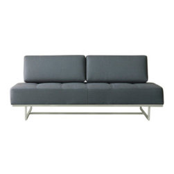 Gus* - James Sleeper Lounge, Menswear Griffin - James Sleeper Sofa  by Gus Modern    At A Glance:   An excellent solution when the guest bedroom isn't sufficient - or when it doesn't exist. Removable back cushions quickly turn the stylish modern James Sleeper Sofa into a twin-sized bed. This cozy sleeper sofa features a sleek steel frame that complements modern decor like it was meant to. Fancy that!   What's To Like:  With a steel base and blind-tufted seat cushion, James looks great as a sofa within modern decor - something not all sleeper sofas can claim.Contrasting materials don't clash at any point, and the brushed stainless steel base gives the sofa a firm footing.  What's Not to Like:   As a bed, it's on the firm side. If you need a cushy ride, James may not be your best friend.  The Bottom Line:   The James Sleeper Sofa from Gus Modern combines the styling touches you're used to from Gus with the quick-and-easy functionality of the best kind