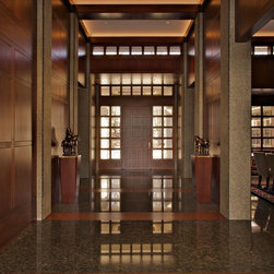 Contemporary Windows and Doors - Genuine Mahogany windows and doors with bronze cladding. Motorized awnings, direct set windows, casements, mullions and entry door. Custom bronze patina finish with simulated divided lite muntin bars.