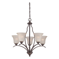 Quoizel - Quoizel VTA5005PN with Palladian Bronze Finish 5 Light Chandelier - Quoizel Ventura with Palladian Bronze finish: Elegant and stately come to mind with the Ventura collection.  The Light amber tinted etched glass is complemented perfectly by the rich Palladian bronze finish.  A style that is refined and suitable for any home's decor.