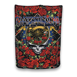 Zeckos - Grateful Dead 40th Anniversary Micro Raschel Fleece Throw Blanket 50 x 60 In - This ultra soft fleece blanket celebrates the Grateful Dead's 40th anniversary, featuring iconic images from the band's history. Made of 100% polyester, it measures 60 inches (5 feet) long by 50 inches (4.2 feet) wide. Recommended care instructions are to machine or hand wash in cold water and air dry. This blanket looks great draped over your couch or favorite chair and it is perfect to take to festivals or camping. Buy one for Bertha, or for yourself, and enjoy its warm comfort 'till the morning comes.'