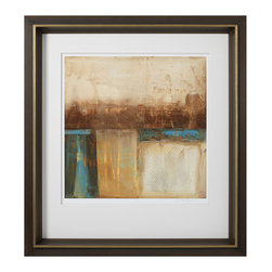 """Roma - Industry I - Vertical shapes suggest an urban landscape releasing a veil of smoky air in this compelling original abstract. Juxtaposed with a modern frame, Industy I elicits captivation whether hung over a modern mantle or accessorized with a rustic bed. 37""""W x 40""""H; Frame features a hand-applied leafed finish in brown; Tones of blues, browns and neutrals; All mouldings manufactured in Italy using only woods from active reforestation programs. This piece is delivered in recycled or environmentally friendly packaging materials whenever possible."""