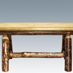 """Montana Woodworks - Glacier Country Plank Style Bench, 45"""" - This uniquely designed plank style bench is just the right size to accompany the vastly popular Montana Woodworks 45"""" Square 4 Post Table (sold separately). Mix and match with dining side chairs or use it in the hall or foot of the bed for easy, comfortable seating. Crafted of solid, American grown wood in the mountains of Montana. Finished in the """"Glacier Country"""" collection style for a truly unique, one-of-a-kind look reminiscent of the Grand Lodges of the Rockies, circa 1900. First we remove the outer bark while leaving the inner, cambium layer intact for texture and contrast. Then the finish is completed in an eight step, professional spraying process that applies stain and lacquer for a beautiful, long lasting finish. Seat depth approximately 12"""". Comes fully assembled. All Montana Woodworks products come with a 20-year limited warranty at no additional charge. Hand Crafted in Montana U.S.A.; Solid, U.S. grown wood; Unique, one-of-a-kind Glacier Country style.; Heirloom Quality; 20 Year Limited Warranty; Durable Build, Fit and Finish; Each Piece Signed By The Artisan Who Makes It; Solid Wood, Edge Glued Panels; Solid Lodge Pole Legs and Cross Support. Dimensions: 45""""W x 18""""D x 18""""H"""