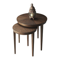 Butler Furniture - Nest of Tables - These tables feature elegant four-way-match cherry veneer tops and slim tapered legs. Crafted from cherry and poplar solids, veneers and wood products in the Antique Cherry finish, they are as versatile and functional as they are beautiful.