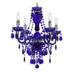 Kathy Kuo Home - Zoe Global Bazaar Indigo Purple 4 Light Mini Chandelier - A fun, alluring piece of bohemian style, this petite, indigo chandelier gives high style in simple materials.  Who knew plastic could look so good?  Dripping in teardrops and swag, this  piece delivers a delightful, strong statement.
