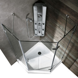Vigo - VIGO VG6061CHCL38W Neo-Angle Shower - Both dramatic and space-saving, the VIGO frameless neo-angle shower enclosure creates a beautiful focal point for your bathroom.