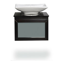 """Belmont Decor - Belmont decor """"Newport"""" single vessel sink bathroom vanity - Our exclusive Newport bathroom vanity will add sophistication and style to your bathroom ensemble. Luxurious black natrual granite with a single ceramic basin, this vanity will give you storage space and is designed to complement any decor, from traditional to minimalist modern. Its uniquely simple contemporary box design, vessel sink, rich espresso-colored wood and frosted glass surface drawer makes this vanity a perfect addition to your bathroom."""