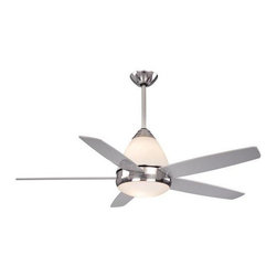 AireRyder - Fresco II 52 in. Ceiling Fan in Satin Nickel - 52 in. W x 52 in. D x 26 in. H. Blade Finish: Silver. Blade Span: 52 in.. Blade Pitch: 13 Degrees. Motor Size: 172x17. Downrod Size: 12 in.. Number of Blades: 5. RPM (Hi/Med/Low): 180/120/80. Mounting Method: Downrod. Downrod Diameter: 1/2 in.. Lead Wire: 78 in.. Fan Speed & Light Dimmer Remote Control Included. Integrated Up and Down Light. 4,875 CFM; 65 Watts; 75 CFM/Watt. Downrod Diameter: 1/2 in.. Lead Wire: 78 in.. Number of Bulbs: 5. Bulb Wattage: 15 WATT. Bulb Type: Candelabra Base. 52 in. W x 52 in. D x 26 in. H