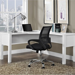 Altra - Princeton White 'L' Desk - Why wait for the corner office when you could grab it now with this quality L-shaped desk. It has a sea of desktop space to accommodate a computer,coffee,binders,cat,whatever you need to be productive. Princeton hutch and files sold separately.