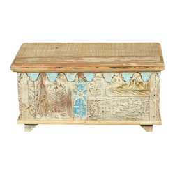 Sierra Living Concepts - Winter Dreams Reclaimed Wood Storage Coffee Table Chest - Our Winter Dreams Coffee Table Chest features a winter white surface with bits of blue peeking through hinting at clear skies and peaceful days. This rustic chest can hold your treasures as you sip coffee and relax. It's a multi-use hand crafted box built with eco-friendly reclaimed wood from Gujarat. The front features hand carved textured details and a light blue wave-like edge. The surfaces are original, no extra paints or stains are added to the old wood.