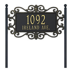 """Ballard Designs - Scrolled Two Line Estate Lawn Address Sign - For One Line, Specify up to five 5 1/2"""" numbers/spaces; For Two Lines, Specify up to five 4"""" numbers/spaces for top line and up to fourteen 1 1/2"""" characters/spaces for bottom line.*Allow 3 to 5 days for monogramming plus shipping time.*Please note that personalized items are non-returnable."""